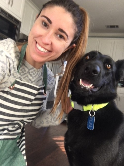 Baking pupcakes with the pupper for her birthday!