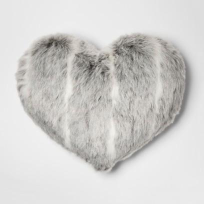 Gray Heart Throw Pillow