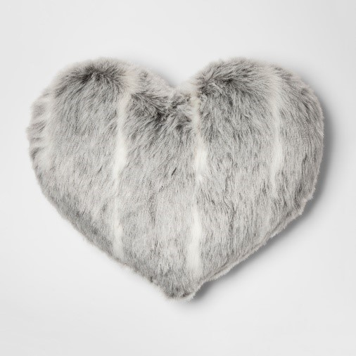 Gray Heart Throw Pillow