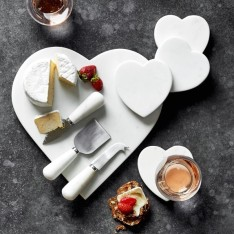 White Marble heart cheese board and coasters