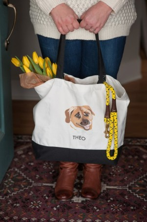 Custom eco-friendly dog tote with portrait