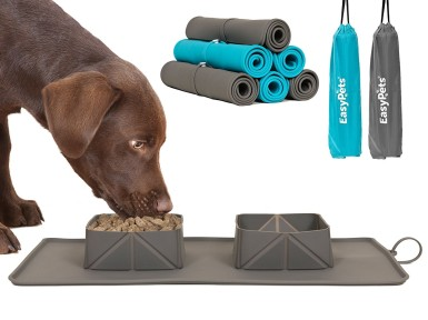 Roll up dog mat and bowls